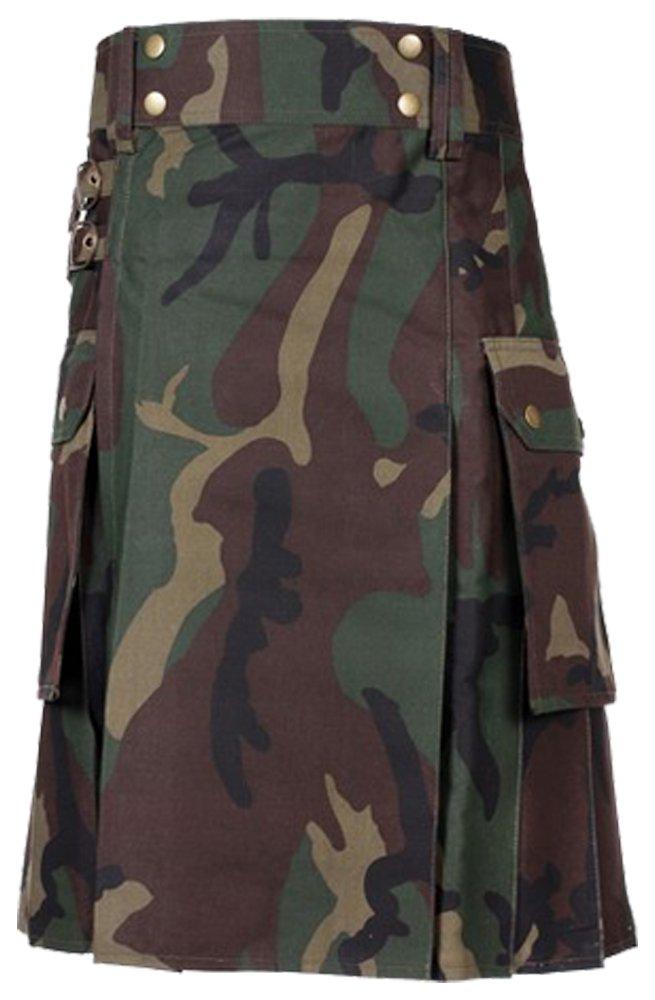 Size 44 Men�s Jungle Camo Utility Kilt with Cargo Pockets Camo Tactical Duty Utility Kilt
