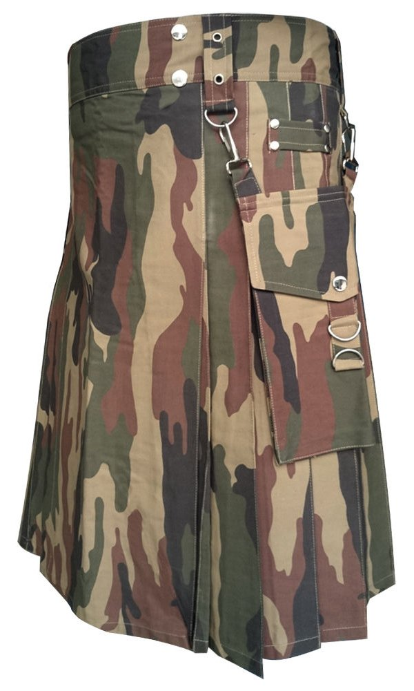 DE: Size 50 Real Tree Camo Tactical Duty Utility Kilt Camoflague Kilt With Cargo Pockets