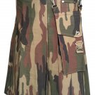 Man's Camo Detachable Pockets Heavy Duty Utility kilt Custom Size Heavy Duty Utility Kilt