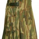Size 32 Men's Army Camo Leather Straps Cotton Utility Tactical Military Grade Kilt