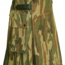 Size 46 Men's Army Camo Leather Straps Cotton Utility Tactical Military Grade Kilt