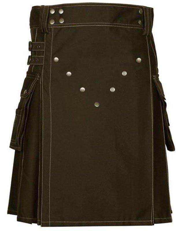 Size 38 Modern Utility Brown Cotton Kilt With Big Cargo Pockets Brass Materials