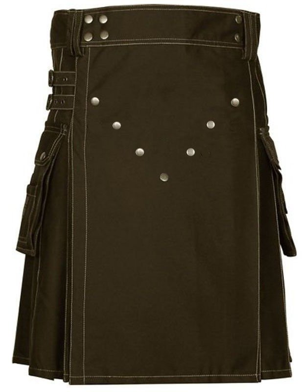 Size 36 Modern Utility Brown Cotton Kilt With Big Cargo Pockets Brass Materials