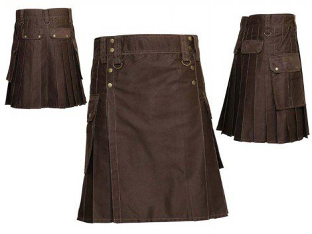 Waist 46 Scottish highland  Chocolate Brown Utility Tactical Duty kilt 100% Cotton Made