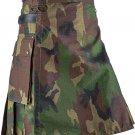 New Custom Size Camouflage Cotton Utility Kilt 60 Size Cargo Pockets Kilt With Leather Straps