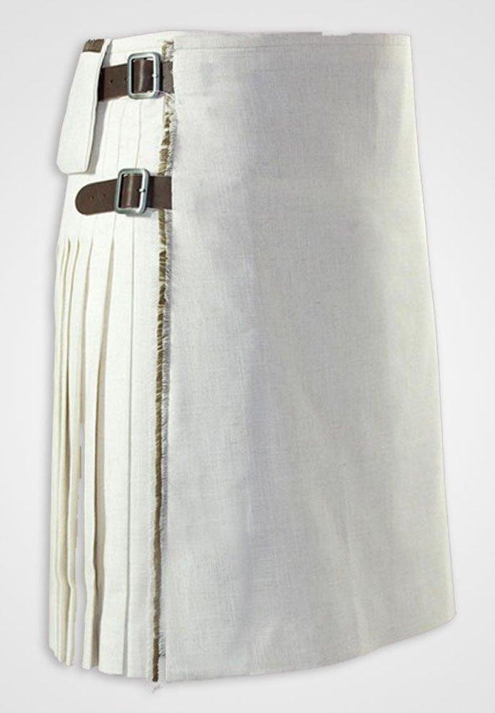 44 Size White Utility Cotton Kilt with Cargo Pockets Unisex Adult Utility Tactical Kilt