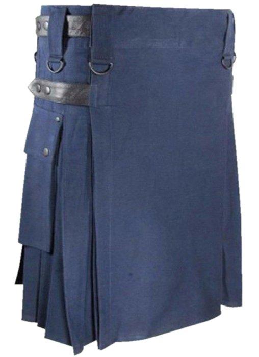 Size 26 Scottish Highland Modern Navy Blue Pocket Special Leather Strap Prime Kilt