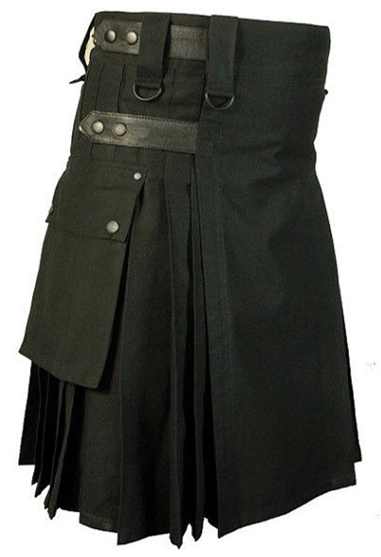 New Size 44 Modern Tactical Duty Utility Black Cotton Kilt With Leather Straps Side Cargo Pockets