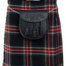 DE: Size 44 Traditional Highland Black Stewart Tartan Kilt Scottish Black Stewart  Kilt