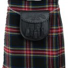 DE: Size 30 Traditional Highland Black Stewart Tartan Kilt Scottish Black Stewart  Kilt