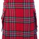 28 Size Highland Utility Kilt in Royal Stewart Tartan Scottish Cargo Pocket Kilt for Active Men