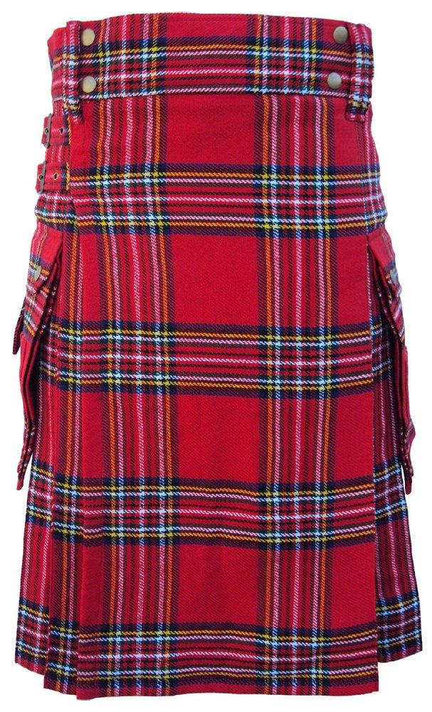 40 Size Highland Utility Kilt in Royal Stewart Tartan Scottish Cargo Pocket Kilt for Active Men
