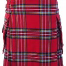32 Size Highland Utility Kilt in Royal Stewart Tartan Scottish Cargo Pocket Kilt for Active Men