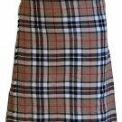 Thompson Camel Tartan Kilt Traditional 8 Yard Kilt Scottish Kilt Size 32 Waist Pleated Skirt