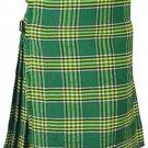 Irish National Men's 8 Yard Scottish Kilt Size 46 Waist Highland Tartan Kilt Casual Pleated Skirt