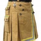 Khaki Fireman Tactical Duty Kilt 28 Waist Size Utility Cotton Kilt with Visible Reflector Tape