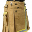 Khaki Fireman Tactical Duty Kilt 60 Waist Size Utility Cotton Kilt with Visible Reflector Tape