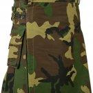 Unisex Professional Army Camouflage Tactical Kilt 48 Waist Size Utility Outdoor Cotton Kilt Skirt