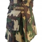 Traditional Unisex Army Camouflage Utility Cotton Kilt 46 Waist Size Adult Outdoor Tactical Kilt