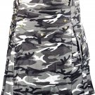 Traditional White & Black Camouflage Utility Cotton Kilt 42 Waist Size Adult Outdoor Tactical Kilt
