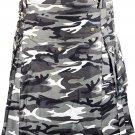 Outdoor Traditional Black & White Camo Kilt 54 Waist Size Utility Cotton Kilt Tactical Adult Kilt