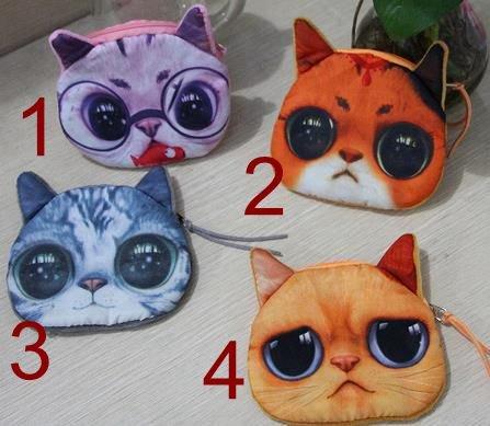 New Cute Cat Face Zipper Case Coin Purse Wallet Makeup Buggy Bag Pouch