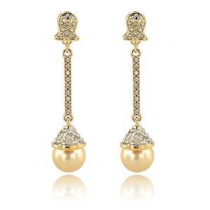 Wedding Pearl Earrings Austrian Crystal Bridal Dangle Champagne Earrings
