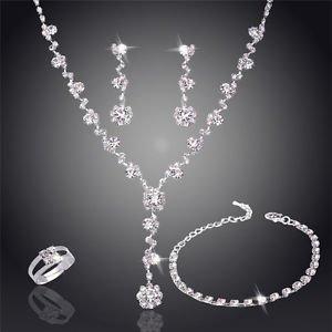 Necklace Earrings Bridal Set Crystal Rhinestone Bridesmaids Wedding Jewelry Set