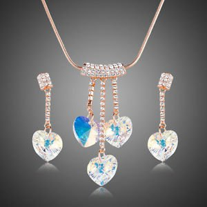 Crystal Heart Wedding Jewellery Set - Earings and Necklace
