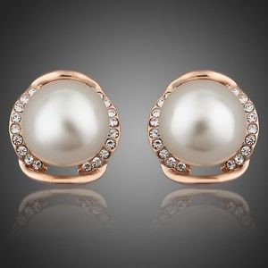 Rose Gold Plated Stellux Austrian Rhinestone with Pearl Stud Earrings