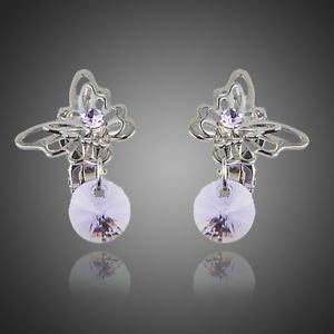 Purple Clip On earrings Butterfly Purple Stellux Austrian Crystal Clip Earrings
