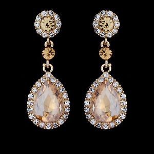 Yellow Chandelier Earrings Gold Crystal Chandelier Earrings Bridal Chandelier