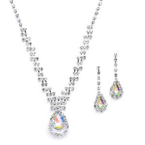 Wedding Bridal Prom or Bridesmaids Rhinestone Necklace Earrings Set