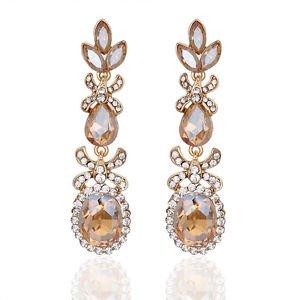 Chandelier Bridal Earrings Gold Champagne Long Drop Earrings Pageant Earrings