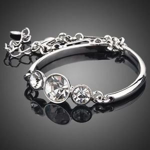Platinum Plated 3pcs Stellux Austrian Crystal Quality Fashion  Jewelry Bracelet