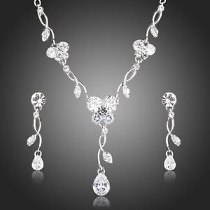 Wedding Bridal Sets Clear Tear Drop Earrings and Necklace Bride Jewelry Sets