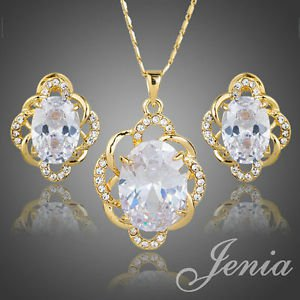 Gold Plated Clear CZ Stud Earrings Pendant Necklace Bridal Wedding Jewelry Sets