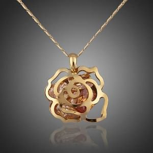 Gold Water Drop Costume Jewellery Cubic Zircon Paved Pendant Crystal  Necklace