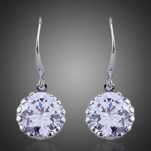 Purple White Gold Plated Round Cubic Zircon Elegant Hook Drop Earrings Lavender