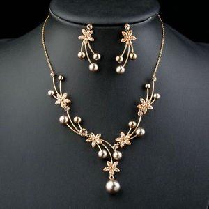 Peach Pearl CZ Flower Set Mock Pearl Pendant Necklace Earrings Jewelry Sets