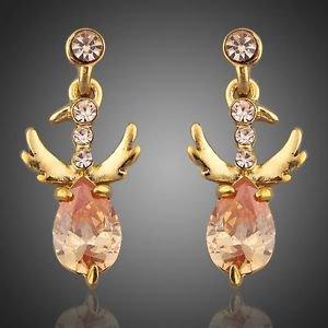 Eagel Motive 18 Gold Plated Cubic Zirconia Peach Earrings