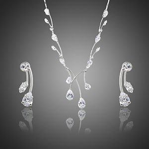 Crystal Bridal Set Prom Wedding Crystal Earrings and Necklace Party Jewelry  set