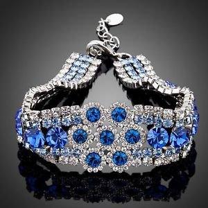 Royal Blue Cubic Zirconia Bracelet Platinum Royal Blue Stellux Austrian Crystal