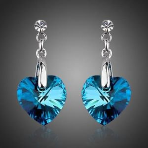 Costume Jewellery Platinum Plated Blue Stellux Austrian Crystal Drop Earrings