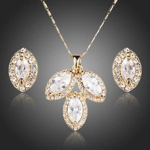 Bridal Necklace Set White Cubic Zirconia Necklace & Stud Earrings Jewelry Sets