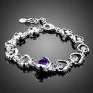 Purple CZ Bracelet Plated Stellux Austrian Crystal Purple High Quality Bracelet