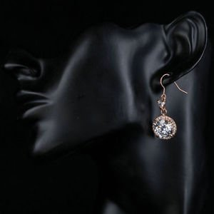 Rose Gold Bridal Earrings CZ Drop Crystal Dangle Earrings Cubic Costume Jewelry