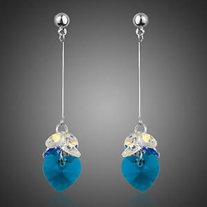 Turquoise Blue Gold Plated Long Drop Austrian Crystal Drop Fashion Earrings