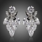 Bridal Cubic Zirconia Clear Botryoid Butterfly Teardrop Bridal CZ Drop Earrings