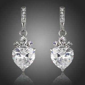 Fashion Jewellery Wedding Prom Party Clear Swiss Cubic Zirconia Drop Earrings
